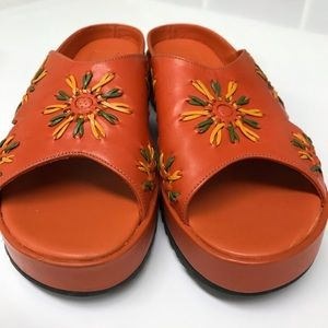 Cole Haan Orange Leather Embroidered Wedge Shoe